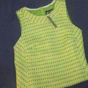size 8 Sleeveless top in piet tweed J. Crew green